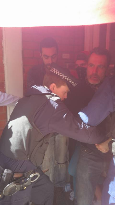 Police rush anti eviction protestors Camden