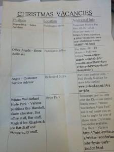 Christmas jobs list