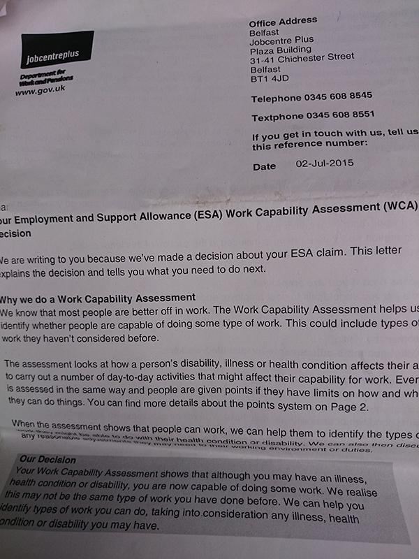 How a government eliminates disability benefits altogether and the fit for work letter spiritdancerdesigns Gallery
