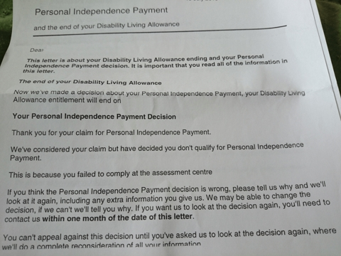 The pip assessment system is garbage and dangerous kate belgrave youll see the letter says that sean a long term disability living allowance recipient has been denied pip altogether he has been denied pip because spiritdancerdesigns Gallery